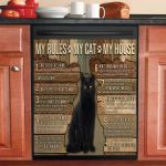 My House My Black Cat My Rules Dishwasher Cover Sticker Kitchen Decor