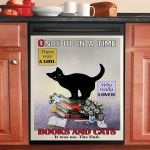 Once Upon A Time Books And Cats Dishwasher Cover Sticker Kitchen Decor