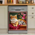 Pretty Cats And Butterfly Retro Dishwasher Cover Sticker Kitchen Decoration