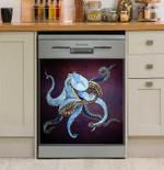 Metallic Octopus Magical Dishwasher Cover Sticker Kitchen Decor
