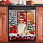 Rough Collie Mery Christmas Dishwasher Cover Sticker Kitchen Decor