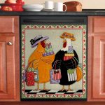 Rooster And Hen Shopping Dishwasher Cover Sticker Kitchen Decor