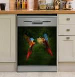 Parrot Couple Dishwasher Cover Sticker Kitchen Decor