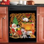 Santa Claus Sitting With His Cats At Home Dishwasher Cover Sticker Kitchen Decor