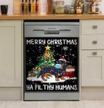 Merry Christmas Ya Fil Thy Humans Dachshund Dishwasher Cover Sticker Kitchen Decor