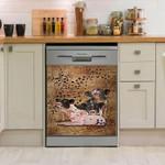Pig Family Cute Vintage Dishwasher Cover Sticker Kitchen Decor