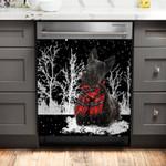 Scottish Terrier Snowy Night Pattern Dishwasher Cover Sticker Kitchen Decor