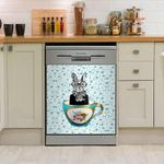 Rabbit In A Cup Dishwasher Cover Sticker Kitchen Decor