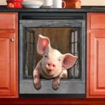 Naughty Pink Pig Through Window Dishwasher Cover Sticker Kitchen Decor
