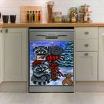 Raccoon Christmas Dishwasher Cover Sticker Kitchen Decor