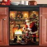 Santa Claus Gifts For Kids Cozy House Dishwasher Cover Sticker Kitchen Decor