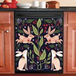 Rabbit Colorful Pattern Floral Dishwasher Cover Sticker Kitchen Decor