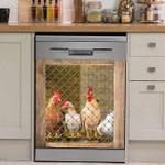 Rooster Chicken And Hen Through Barn Door Dishwasher Cover Sticker Kitchen Decor