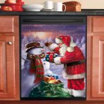 Santa Send Gift To Snowman Dishwasher Cover Sticker Kitchen Decor