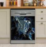 Metallic Ocean Jellyfish Watercolor Dishwasher Cover Sticker Kitchen Decor