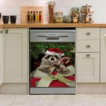 Raccoon Merry Christmas Dishwasher Cover Sticker Kitchen Decor