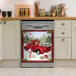 Red Truck Pine Christmas Dishwasher Cover Sticker Kitchen Decor