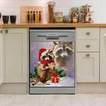 Raccoon Happy Christmas Dishwasher Cover Sticker Kitchen Decor