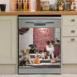 Merry And Bright Christmas Season Dishwasher Cover Sticker Kitchen Decor