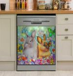 Rabbits And Butterflies Dishwasher Cover Sticker Kitchen Decor