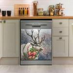 Reindeer In Snow Dishwasher Cover Sticker Kitchen Decor