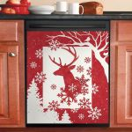 Reindeer With Snowflakes Dishwasher Cover Sticker Kitchen Decor
