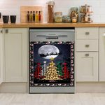 Merry Christmas Trees With Buffalo Plaid And Leopard Dishwasher Cover Sticker Kitchen Decor