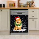 Pomeranian Wreath Neckle Christmas Dishwasher Cover Sticker Kitchen Decor