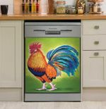 Rooster On Green Pattern Dishwasher Cover Sticker Kitchen Decor