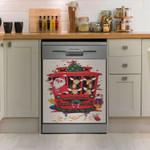 Reindeer Santa Red Train Dishwasher Cover Sticker Kitchen Decor