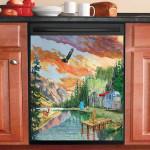 Peaceful Wilderness Peninsula Sunset Eagle Dishwasher Cover Sticker Kitchen Decor