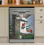 Red Cardinal Bird's House Snowy Garden Dishwasher Cover Sticker Kitchen Decor