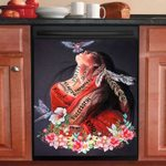 Pretty Native Girl Floral Dishwasher Cover Sticker Kitchen Decoration