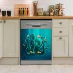 Octopus Yellow Fished Dishwasher Cover Sticker Kitchen Decor