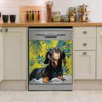 Lovely Dachshund Tropical Dishwasher Cover Sticker Kitchen Decor