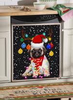 Pug Christmas Neon Horns Dishwasher Cover Sticker Kitchen Decor