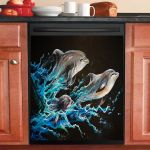 Out Of The Blue Family Dolphin Dishwasher Cover Sticker Kitchen Decor