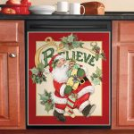 Retro Santa Believe Dishwasher Cover Sticker Kitchen Decor