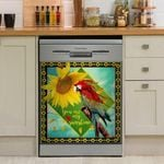 Parrot With Sunflower Pattern Dishwasher Cover Sticker Kitchen Decor
