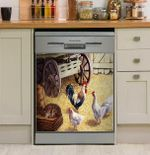 Rooster And Hens In The Barn Dishwasher Cover Sticker Kitchen Decor