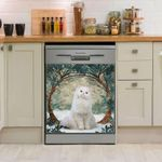 Persian Cat And Circle Tree Dishwasher Cover Sticker Kitchen Decor