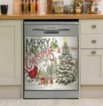 Merry Christmas Red Cardinal Bird And Christmas Tree Dishwasher Cover Sticker Kitchen Decor