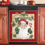 Retro Santa Wishes Dishwasher Cover Sticker Kitchen Decor
