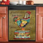 Rooster And Books Dishwasher Cover Sticker Kitchen Decor