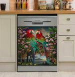 Parrot Couple Pattern Dishwasher Cover Sticker Kitchen Decor
