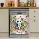 Little Cute Panda And The Wreath Pastel Dishwasher Cover Sticker Kitchen Decor