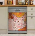 Little Pig Orange And Yellow Ombre Dishwasher Cover Sticker Kitchen Decor