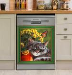 Lovely Cat Sleeping Dishwasher Cover Sticker Kitchen Decor