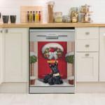 Scottish Terrier Christmas Pattern Dishwasher Cover Sticker Kitchen Decor