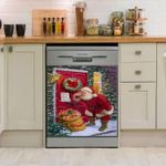 Santa Clause Waiting For Gifts Dishwasher Cover Sticker Kitchen Decor